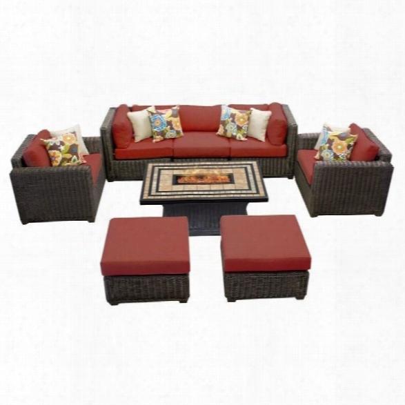 Tkc Venice 8 Piece Outdoor Wicker Sofa Set In Terracotta