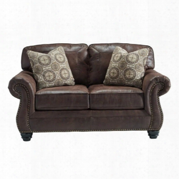 Ashley Breville Faux Leather Loveseat In Espresso