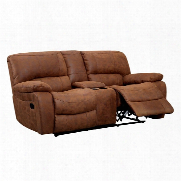 Furniture Of America Soletsi Leather Reclining Loveseat In Brown