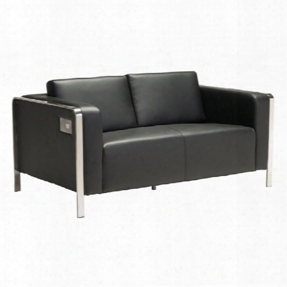 Zuo Thor Faux Leather Loveseat In Black