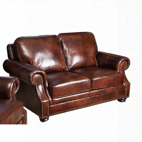 Abbyson Living Karington Leather Loveseat In Brown