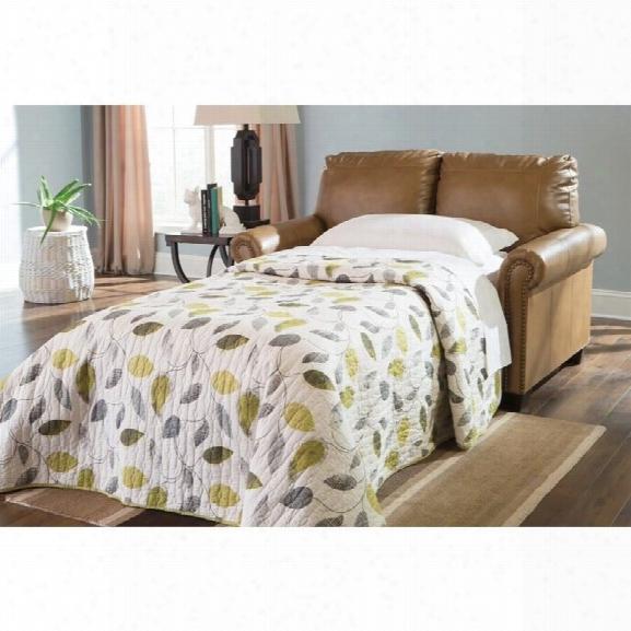 Ashley Lottie Leather Twin Sleeper Sofa In Almond