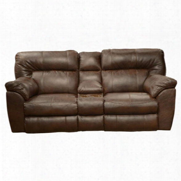 Catnapper Nolan Leather Power Reclining Loveseat In Chestnut