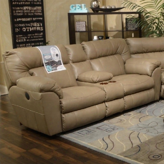 Catnapper Nolan Leather Power Reclining Loveseat In Putty