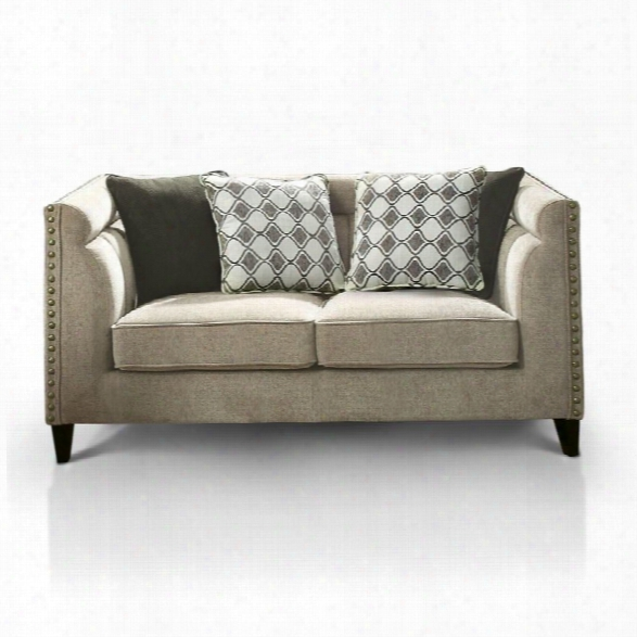 Furniture Of America Chelsea Nailhead Trim Love Seat In Brown