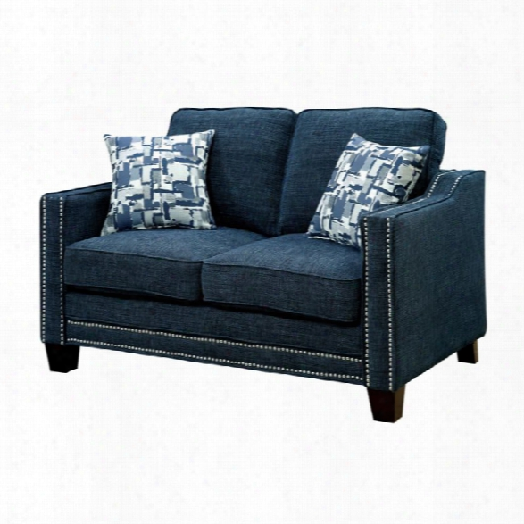 Furniture Of America Landrum Fabric Loveseat In Blue