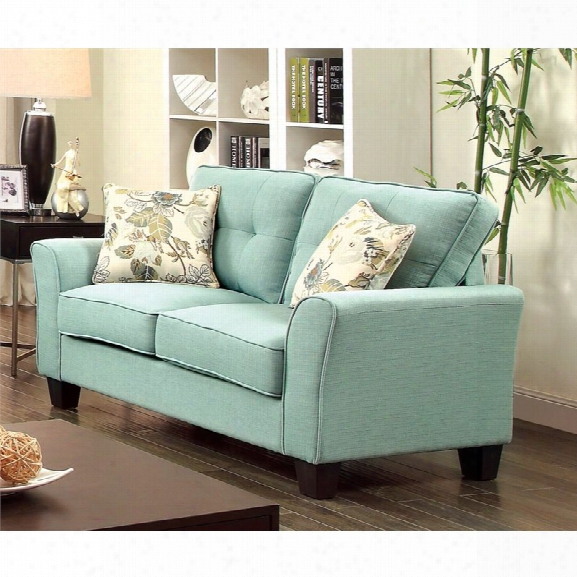 Furniture Of America Pryor Tufted Linen Loveseat In Blue