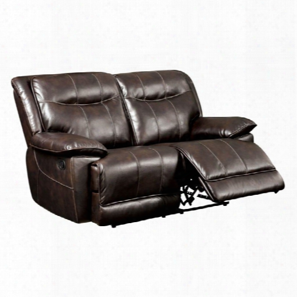 Furniture Of America Schaffer Leather Reclining Loveseat In Brown