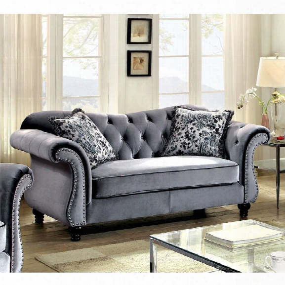 Furniture Of America Sharon Tufted Fabric Loveseat In Gray