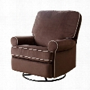 Abbyson Living Marcus Fabric Swivel Glider Recliner Chair in Coffee