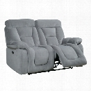 Furniture of America Boyce Fabric Power Reclining Loveseat in Gray