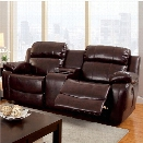 Furniture of America Calcett Leather Reclining Loveseat in Brown