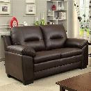 Furniture of America Pallan Leather Tufted Loveseat in Brown