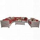 TKC Florence 10 Piece Patio Wicker Sofa Set in Red