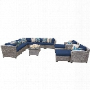 TKC Florence 13 Piece Patio Wicker Sofa Set in Navy