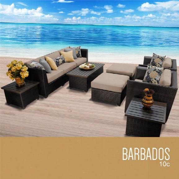 Tkc Barbados 10 Piece Patio Wicker Sofa Set In Wheat