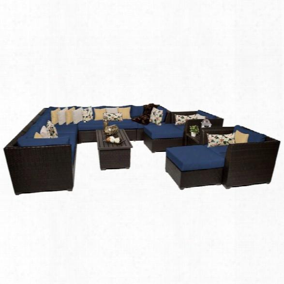 Tkc Barbados 13 Piece Patio Wicker Sofa Set In Navy