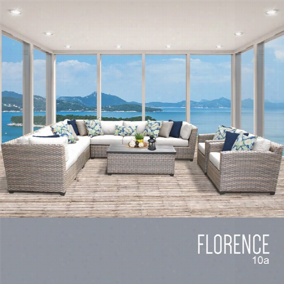 Tkc Florence 10 Piece Patio Wicker Sofa Set In White
