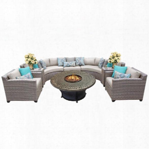 Tkc Florence 8 Piece Patio Wicker Fire Pit Sofa Set In Beige