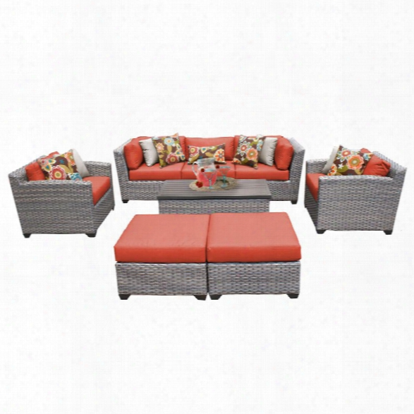 Tkc Florence 8 Piece Patio Wicker Sofa Set In Orange