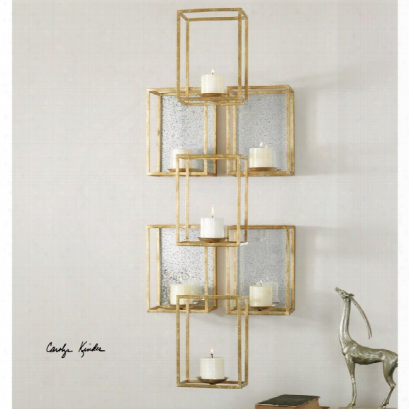 Uttermost Ronana Mirrored Wall Sconce In Gold Leaf