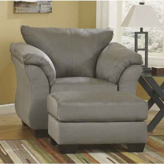 Ashley Darcy Fabric Chair With Ottoman In Cobblestone