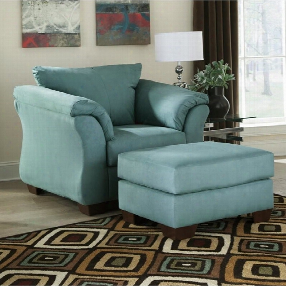 Ashley Darcy Fabric Chair With Ottoman In Sky