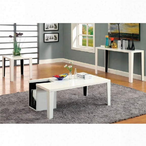 Furniture Of America Lucio 3 Piece Coffee Table Set In White