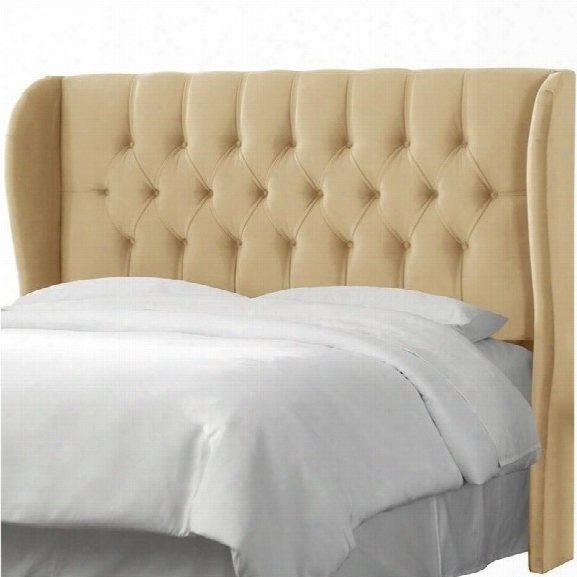 Skyline Tufted Wingback Panel Headboard In Beige-full