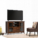 Simpli Home Devon 54 Tall TV Stand in Mahogany Brown