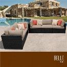 TKC Belle 5 Piece Patio Wicker Sofa Set in Wheat