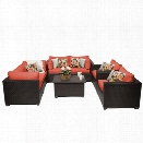 TKC Belle 7 Piece Patio Wicker Sofa Set in Orange