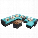 TKC Venice 10 Piece Patio Wicker Fire Pit Sectional Set in Turquoise