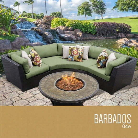 Tkc Barbados 4 Piece Patio Wicker Fire Pit Sectional Set In Green