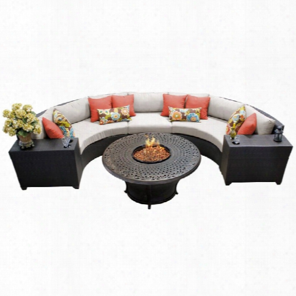 Tkc Barbados 6 Piece Patio Wicker Fire Pit Sectional Set In Beige