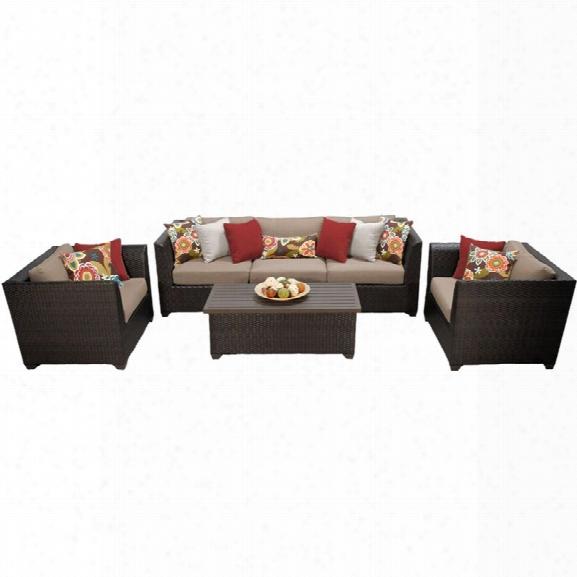 Tkc Barbados 6 Piece Patio Wicker Sofa Set In Wheat