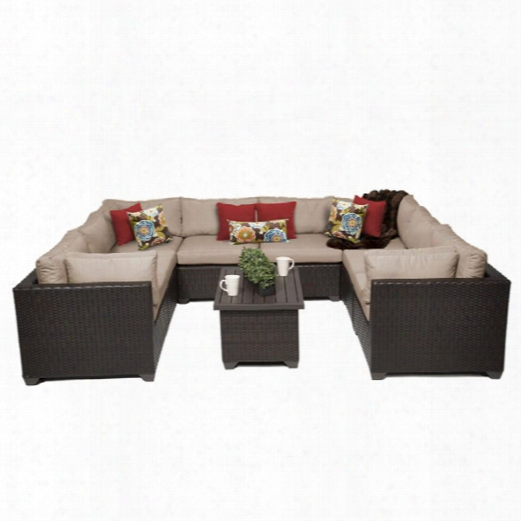 Tkc Belle 9 Piece Patio Wicker Sectional Set