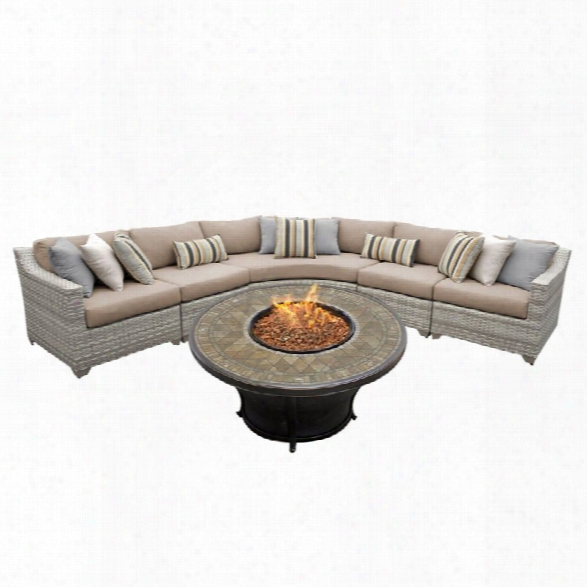 Tkc Fairmont 6 Piece Patio Wicker Fire Pit Sectional Set In Wheat