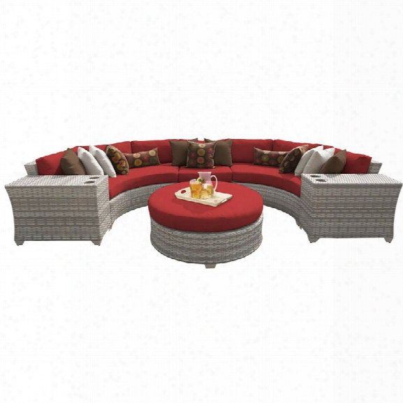Tkc Fairmont 6 Piece Patio Wicker Sectional Set In Red