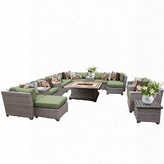 Tkc Florence 17 Piece Patio Wicker Fire Pit Sofa Set In Green