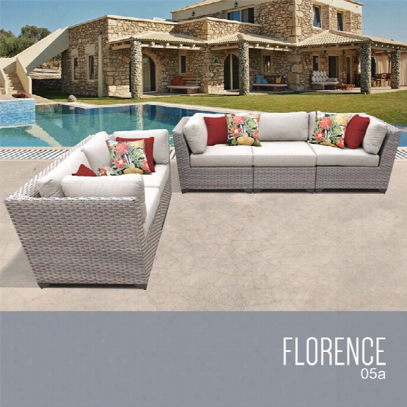 Tkc Florence 5 Piece Patio Wicker Sofa Set In Beige