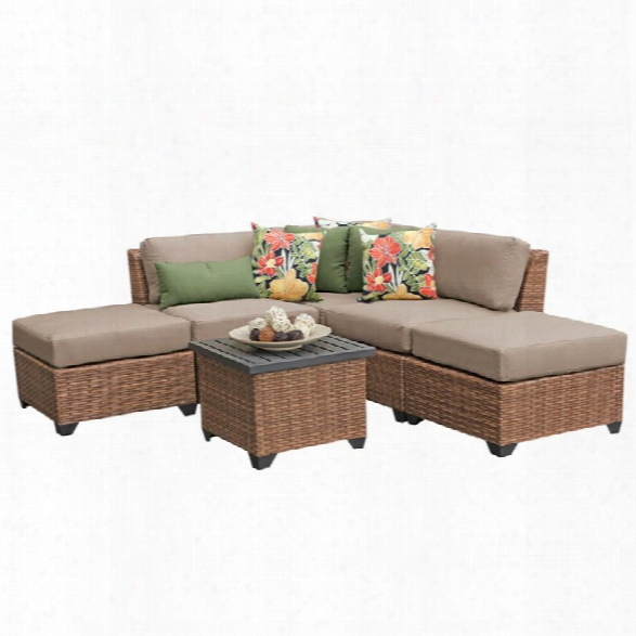 Tkc Laguna 6 Piece Patio Wicker Sofa Set In Tan