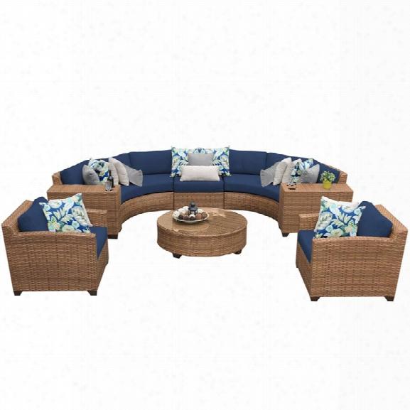 Tkc Laguna 8 Piece Patio Wicker Sofa Set In Navy
