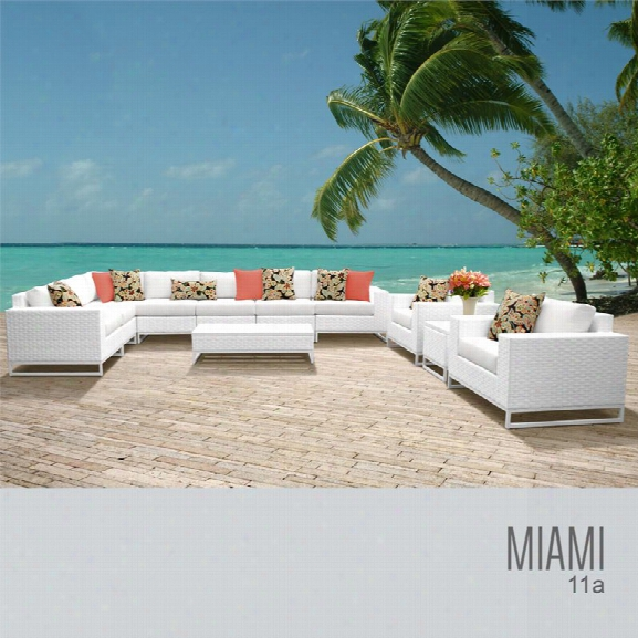 Tkc Miami 11 Piece Patio Wicker Sofa Set In White