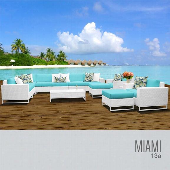 Tkc Miami 13 Piece Patio Wicker Sofa Set In Turquoise