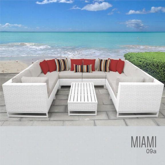 Tkc Miami 9 Piece Patio Wicker Sectional Set In Beige