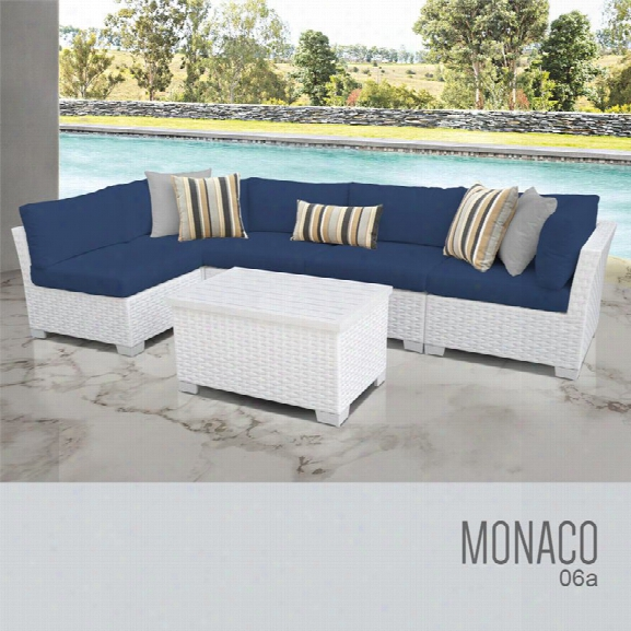 Tkc Monaco 6 Piece Patio Wicker Sectional Set In Blue