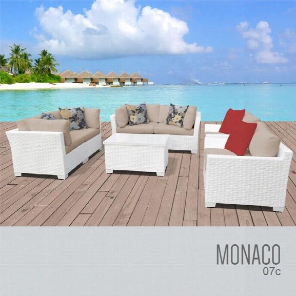 Tkc Monaco 7 Piece Patio Wicker Sofa Set In Wheat