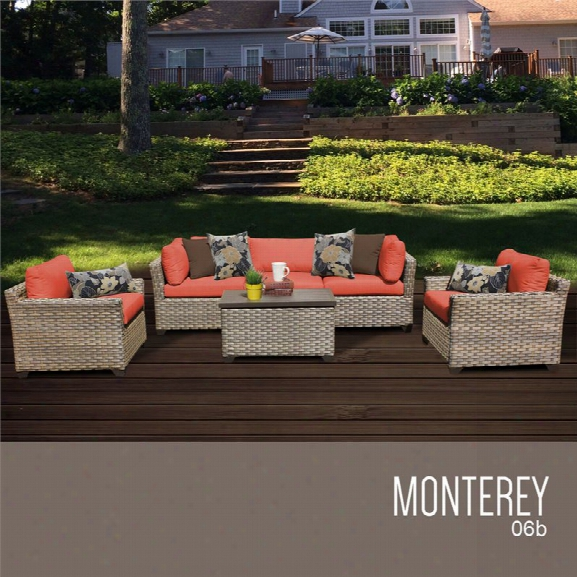Tkc Monterey 6 Piece Patio Wicker Sofa Set In Orange