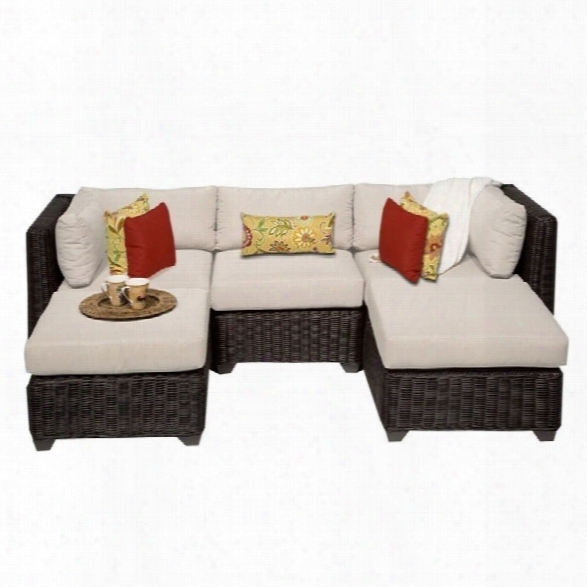 Tkc Venice 5 Piece Outdoor Wicker Sofa Set In Beige